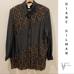 Vintage Diane Gilman Sequined Silk Blouse